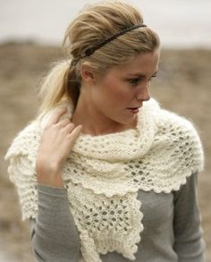 Hand knit Angora Neck Warmer Scarf Lace Pattern Great for Wedding | tvkstyle - Wedding on ArtFire