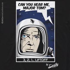 """ilustración del Major Tom, el astronauta al que hace referencia David Bowie en su """"Space Oddity"""". Un homenaje al Duque Blanco."""