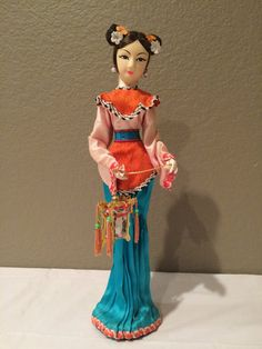 TALL Vintage 14 Cloth Asian Girl Doll w Pleated by KMSCollectibles