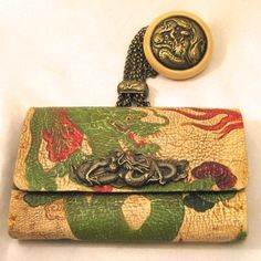 japammnese tabacco smoking | Japanese Tobacco Pouch with Dragon Netsuke Engraved Leather Purse