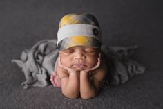 newborn BOY fabric hat with button (Christian) - photography prop - plaid, grey, yellow, black by adorableprops on Etsy