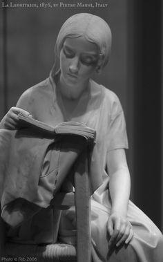 La Leggitrice / The Reading Girl,1856 by Pietro MAGNI (Sculptor. Italy,1817-1877).