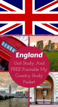 Find unit study resources for learning about England as well as a FREE My Country Study Packet here.   #homeschooling #geography