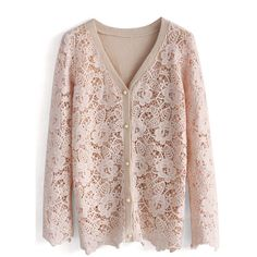 Chicwish Delicacy Floral Crochet Cardigan in Pink ($53) ❤ liked on Polyvore featuring tops, cardigans, sweaters, blouses, pink, floral print cardigan, button cardigan, crochet cardigan, brown crochet top and crochet top
