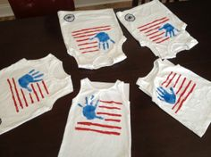 Handprint flag- cute and simple. July 4th idea