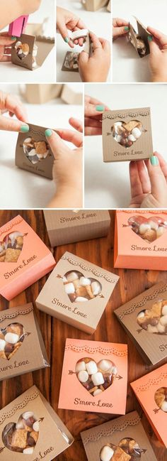 Hochzeit – Adorable idea for s'mores wedding favors – so unique! Free design too Geschenk Hochzeit – Adorable idea for s'mores wedding favors – so unique! Free design too! Wedding Favors And Gifts, Smore Wedding Favors, Unique Party Favors, Wedding Favours Unique, Wedding Favor Boxes, Door Gift Wedding, Wedding Presents For Guests, Fall Party Favors, Outdoor Wedding Favors