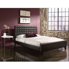 The Aria Platform Bed is a simple, modern platform bed with a tufted headboard that fits nicely into almost any decor.