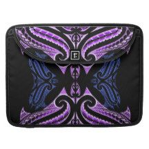 Purple blue traditional Maori tattoo design Sleeve For MacBook Pro