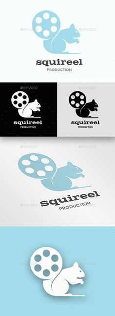 Squirrel Reel Logo  — EPS Template #movies #logos #blue #movie logo #vector •…