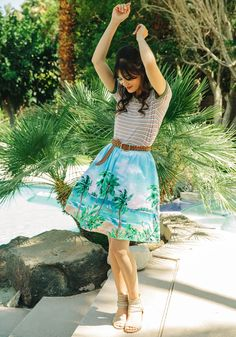 Every Once in an Isle A-Line Skirt. Save this bright blue skirt from our ModCloth namesake label just for tropical occasions? #blue #modcloth