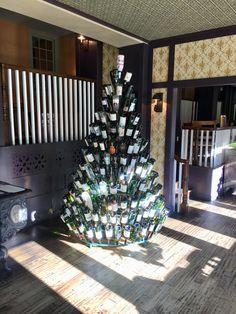 A Wine Bottle Christmas tree in Bedford Township #winebottlechristmastree #wine #bottletree