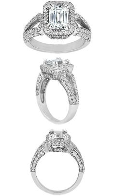 Emerald Cut Diamond Halo Split Band Engagement Ring