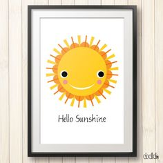 Hello Sunshine poster, kids poster, motivational quote, sun poster, nursery decor, kids room decor, printable wall art by Dodlido on Etsy
