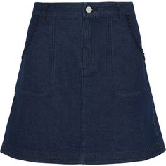 See by Chloé Embroidered denim mini skirt ($118) ❤ liked on Polyvore featuring skirts, mini skirts, dark blue, blue denim mini skirt, short skirts, high waisted skirts, mini skirt and high-waisted skirts