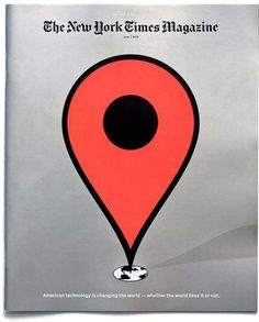 This cover immediately stands out due to the massive bright red Google Maps pin icon. The scaling here is curious, as the pin is several times the size of the image of the earth. This great size disparity suggests the imposing nature of American power and influence in technology... possibly also making a statement about the US's imperialistic inclinations, but I know nothing about thattttt~~