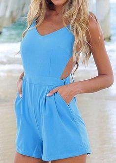 Blue Sleeveless Backless Pockets Jumpsuit 14.17
