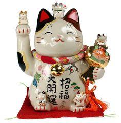 MANEKI Neko Lucky Fortune Money Cat CHARM BRACELET Happy Waving Cat