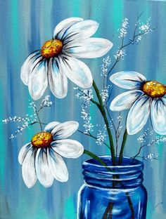 Beautiful Daisy painting in a blue. Awesome beginner painting idea.