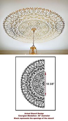 How to stencil a table top! DIY - Debbiedoos - How to stencil a table top with a ceiling medallion stencil. Informations About How to stencil a tab - Diy Home Decor, Room Decor, Wall Decor, Home Decoration, Ceiling Decor, Ceiling Fan, Diy Table Top, Ceiling Medallions, Ceiling Design