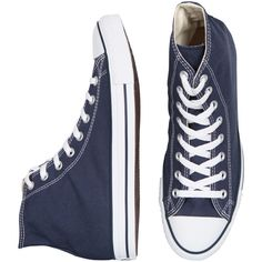 Converse All Star Hi - Navy ($65) ❤ liked on Polyvore featuring shoes, sneakers, converse, sapatos, tênis, star shoes, navy sneakers, converse trainers, distressed shoes and navy canvas shoes