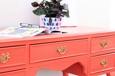 I just love this color for my home. Benjamin Moore Salsa. Desk from Natty by Design.