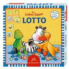 """""""Die Lieben Sieben"""" lieben Lotto! Spiele mit Ihnen! Inhalt: 4 Spielpläne, 16 Spielplättchen Für 2-4 Spieler."""