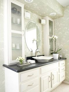 Best Photo Gallery Websites love the white cabinets with black counter top and vessel sink Like the single sink