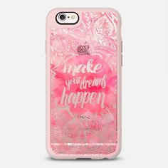 Make your dreams happen - New Standard iPhone 6 phone case in Pink Gray and Clear by Girly Trend #phonecase #protective #floral #floralprint | @casetify