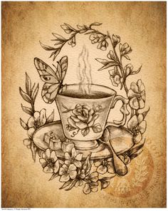 Victorian Steampunk Tea Cup Butterfly - Art Print - Brigid Ashwood. $15.00, via Etsy.
