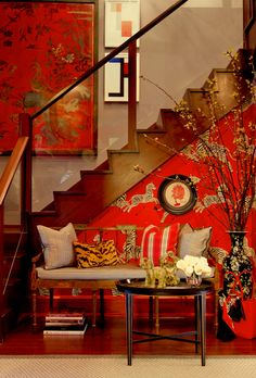 Vivacious zebra wallpaper in Masai Red for the small eclectic entry complements the stairway wall art [From: Bryant Keller Interiors / Rikki Snyder] Zebra Wallpaper, Eclectic Wallpaper, Unusual Wallpaper, Interior Wallpaper, Perfect Wallpaper, Print Wallpaper, Red Interiors, Colorful Interiors, Keller Interiors