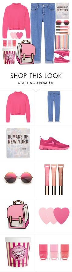 """raspberry"" by doga1 ❤ liked on Polyvore featuring Line, Macmillan, NIKE, Oysho, Clarins, JumpFromPaper, Sephora Collection, Nails Inc., women's clothing and women"
