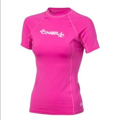 O'Neill Wetsuit Short Sleeve Rashguard Top Absolutely gorgeous, wore it once, then it was in my swimsuit drawer for a while. It's been washed. Material is polyester, imported, excellent for surfing, length is 23 in, UPF 50, fox pink color. O'Neill Swim