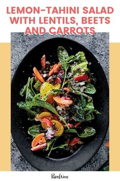 You'll love how the bright, nutty dressing complements its earthy flavor. Vegetarian Breakfast Recipes, Healthy Salad Recipes, Kale Caesar Salad, Warm Salad, Carrot Recipes, Lunches And Dinners, Beets, Lentils, Summer Recipes