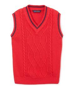 Red V-Neck Sweater Vest - Infant