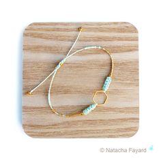 Menthe pastel mint - Bracelet macramé minimaliste losange doré et perles miyuki delica : Bracelet par natacha-fayard