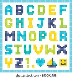 Vector Pixel Art Alphabet Set Fun Stock Vector (Royalty Free) 149507255 Melty Bead Patterns, Hama Beads Patterns, Loom Patterns, Beading Patterns, Perler Bead Templates, Diy Perler Beads, Perler Bead Art, Perler Bead Disney, Graph Paper Art