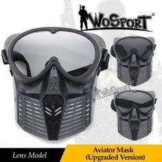 Wosport戦術フルフェイスマスク防曇レンズマスクでメガネ用軍事陸軍csフィールドゲーム狩猟ペイントボールアクセサリー