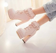 Pale pink, ankle boots