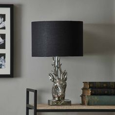Wilko Silver and Black Stag Head Table Lamp E14 Led, Stag Head, Led Candles, Shades Of Black, Living Spaces, Table Lamp, Display, Silver, Round Round