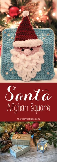 Crocheted Santa / Father Christmas granny square (afghan square) pattern