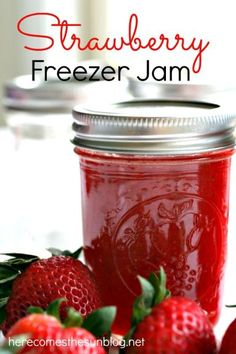 This delicious Homemade Strawberry Freezer Jam is so easy to make! Monte Cristo sandwiches are sooo good with freezer jam!