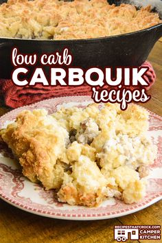 Are you looking for a low carb way to enjoy Biscuits and Gravy? Our Low Carb Biscuits and Gravy Casserole (Oven) recipe has a delicious sausage gravy topped with a tender buttery biscuit topping. Low Sugar Recipes, Oven Recipes, Keto Recipes, Crockpot Recipes, Buscuit Recipe, Low Carb Fried Chicken, Low Carb Mexican Food, Carbquik Recipes, Biscuits And Gravy Casserole