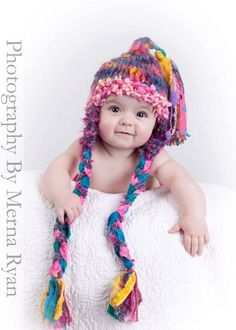 SkY PiLoT EaR FlaP HaT 0  6 month Baby Girl by MadAboutColour, $60.00