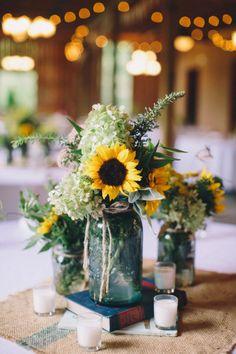 Rustic Wedding Centerpieces Mason Jars | Sunflower and aqua mason jar centerpieces with burlap. {source: Olivia ...