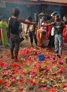 Garbage after praying  Patan, Nepal