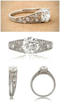 An antique engagement ring with a 1.49 carat Old Mine cut diamond in platinum, engraved and filigree details. Gorgeous from every angle.