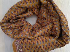 Small Scarf Indian Cotton Scarf Brown Neck Scarf
