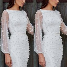 Sexy Gauze Spliced Long Sleeve Round Neck Slim Fit Beaded Dress - - Sexy Gauze Spliced Long Sleeve Round Neck Slim Fit Beaded Dress Source by sseemmaa Elegant Dresses, Beautiful Dresses, Formal Dresses, Beautiful Women, Girls Dresses, Dresses For Work, Dresses With Sleeves, Lace Dress, White Dress