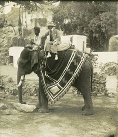 """cmparoundtheworld: """" Photographer Herbert G. Ponting on an elephant, India, Keystone-Mast Collection at UCR CMP, """" The Sorrows of Gin. Colonial India, British Colonial Style, Udaipur, Jaisalmer, Old Photos, Vintage Photos, History Of India, Vintage India, History Of Photography"""