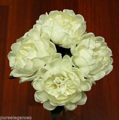 $29.95+free WEDDING-BOUQUET-FLOWERS-LATEX-REAL-TOUCH-PEONY-PEONIE-WHITE-4-HEADS-ROSES-ROSE